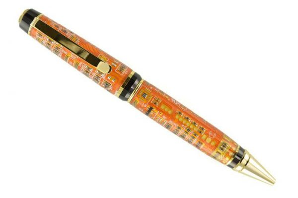Opus Mechan Technica Collection Double Barrel Orange Circuit Board Ballpoint Pen
