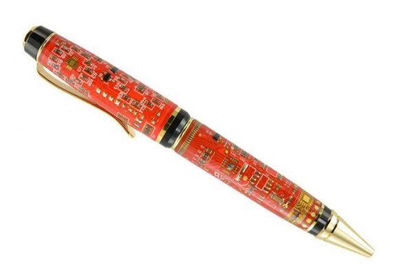 Opus Mechan Technica Collection Double Barrel Red Circuit Board Ballpoint Pen