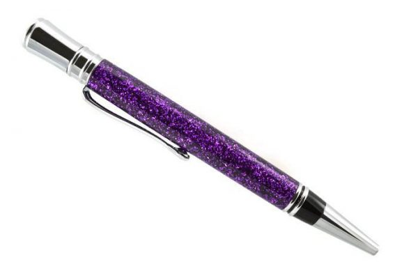 Opus Mechan Glitz Collection Purple Ballpoint Pen Chrome