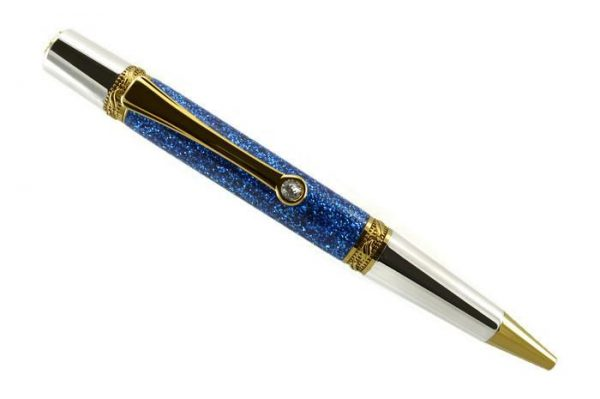 Opus Mechan Glitz Collection Blue Ballpoint Pen Rhodium