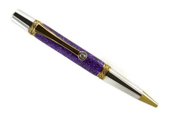 Opus Mechan Glitz Collection Purple Ballpoint Pen Rhodium