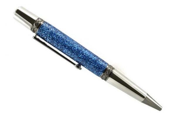 Opus Mechan Glitz Collection Blue Ballpoint Pen Rhodium