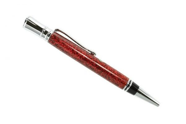 Opus Mechan Glitz Collection Branded Red Ballpoint Pen Chrome