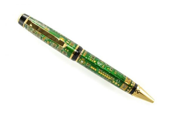 Opus Mechan Technica Collection Double Barrel Green Circuit Board Ballpoint Pen