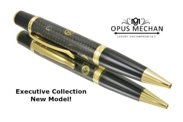 Opus Mechan Carbon Fiber Gold Full Size Watch Part Ballpoint Pen
